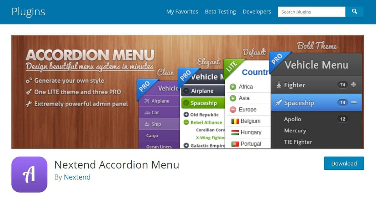 plugin tạo menu cho WordPress Nextend Accordion menu