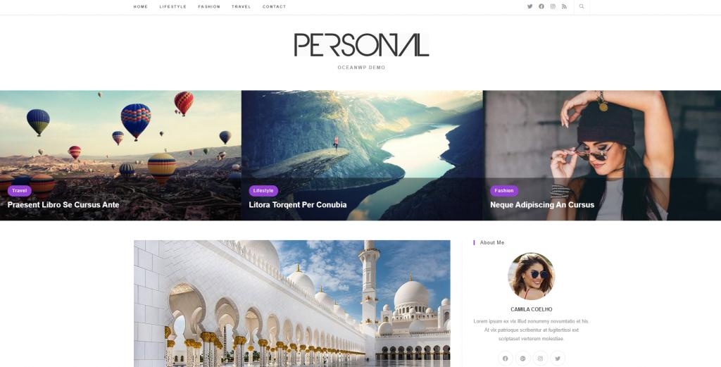 Screenshot of Ocean WordPress theme