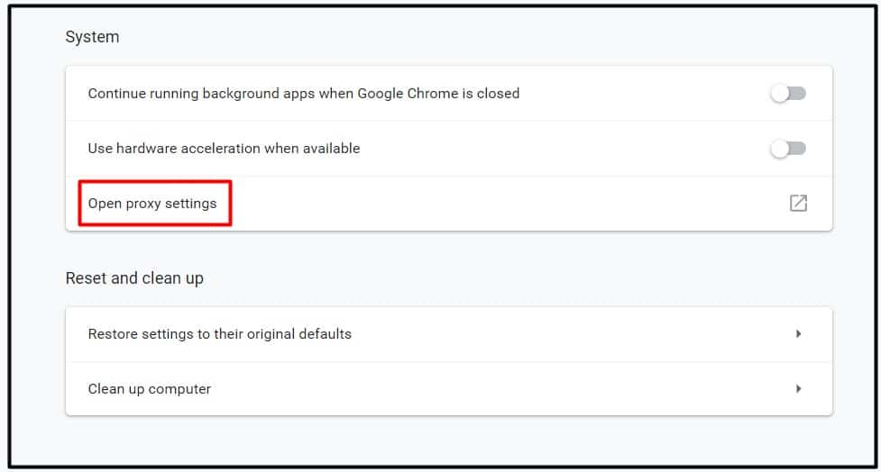 open proxy settings n chrome