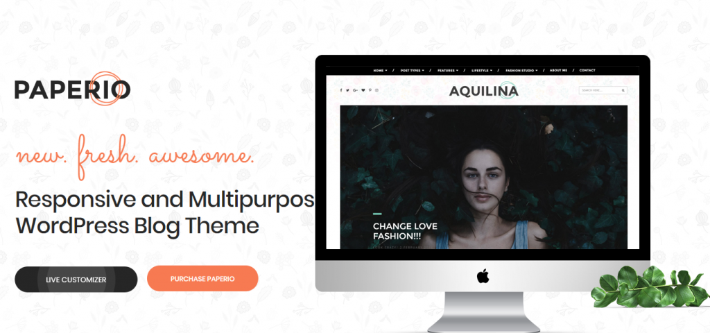 Landing page of Paperio's WordPress theme
