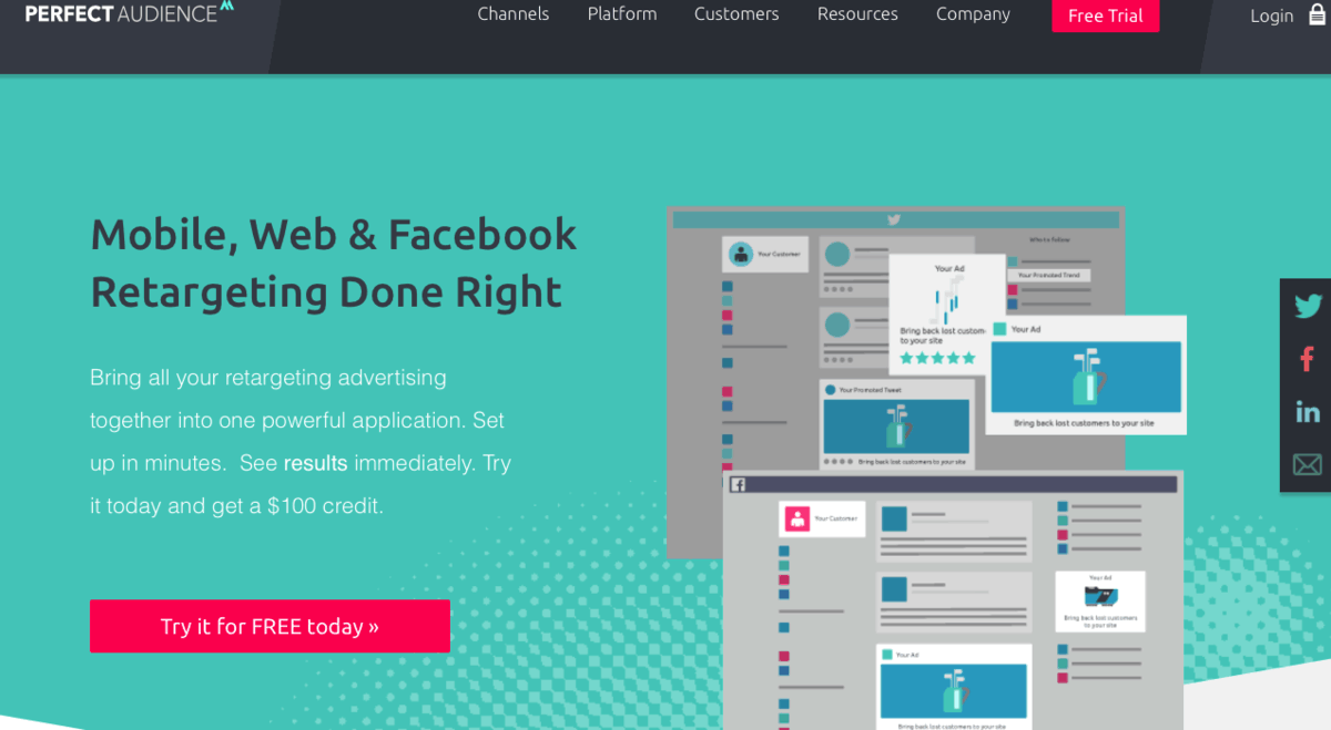 Perfect Audience landing page
