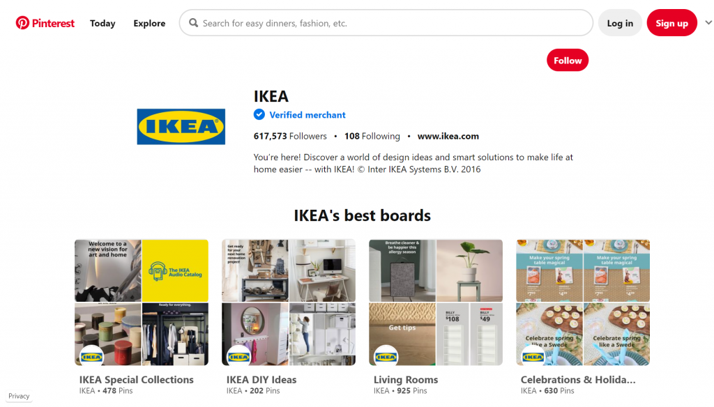 Pinterest application displaying Ikea's best boards