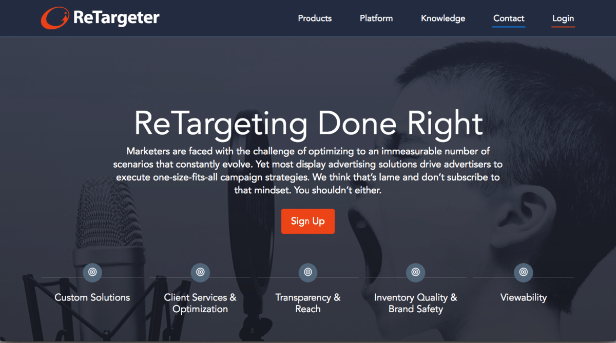 Retargeter landing page