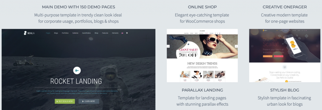 Landing page of Scalia WordPress theme