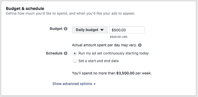 Setting Budget and Schedule in Facebook Ads