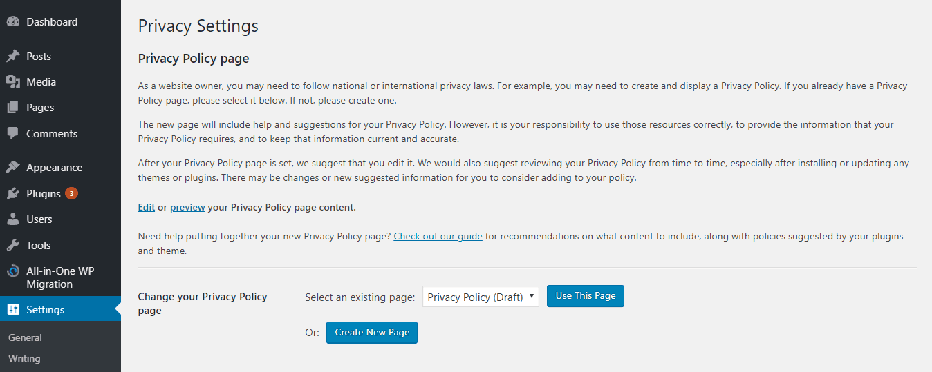 Privacy policy settings in WordPress admin area