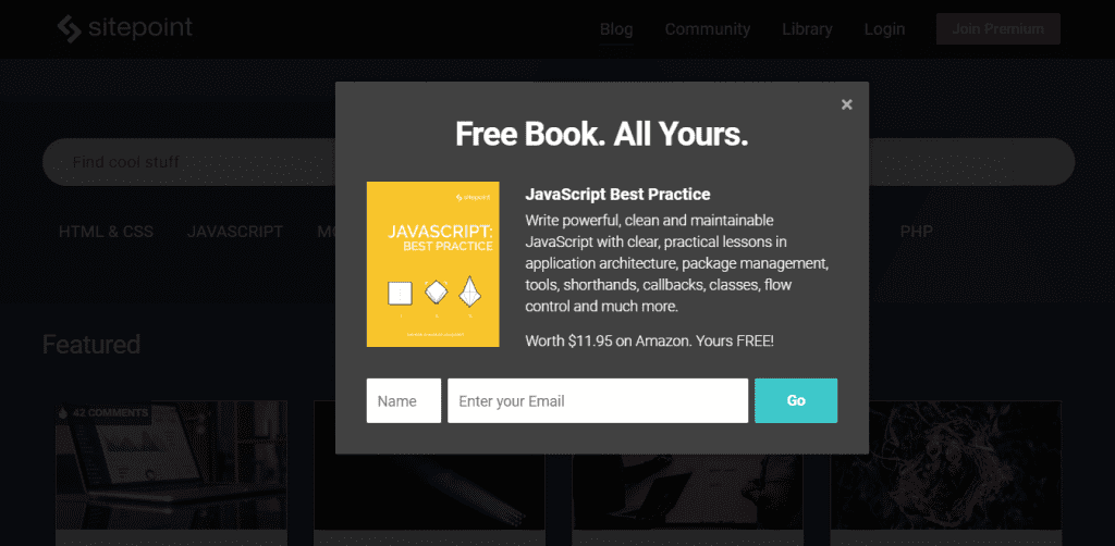 free ebook pop-up email sign up form of Sitepoint