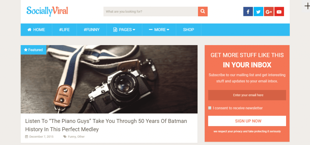 Landing page of SociallyViral WordPress theme