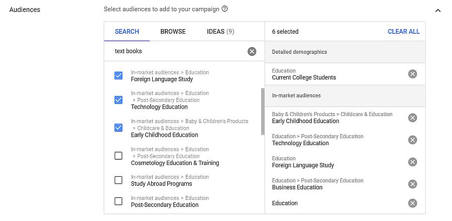 google ad target audience