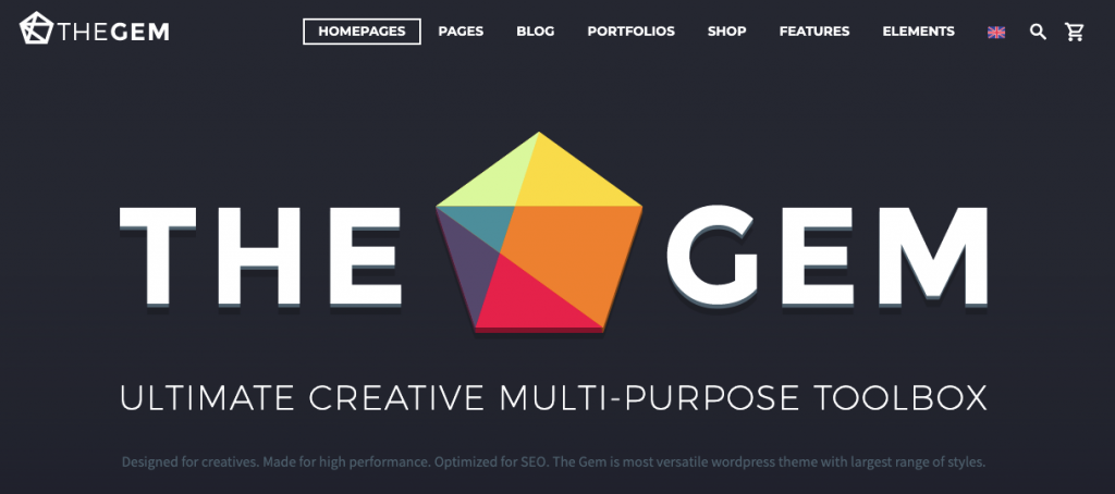 Landing page of TheGem WordPress theme