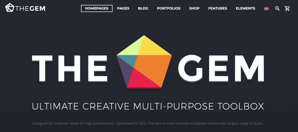 The landing page of TheGem WordPress theme