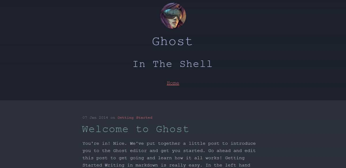 Example of ghost theme The Shell