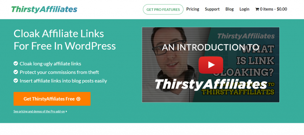 ThirstyAffiliates webpage