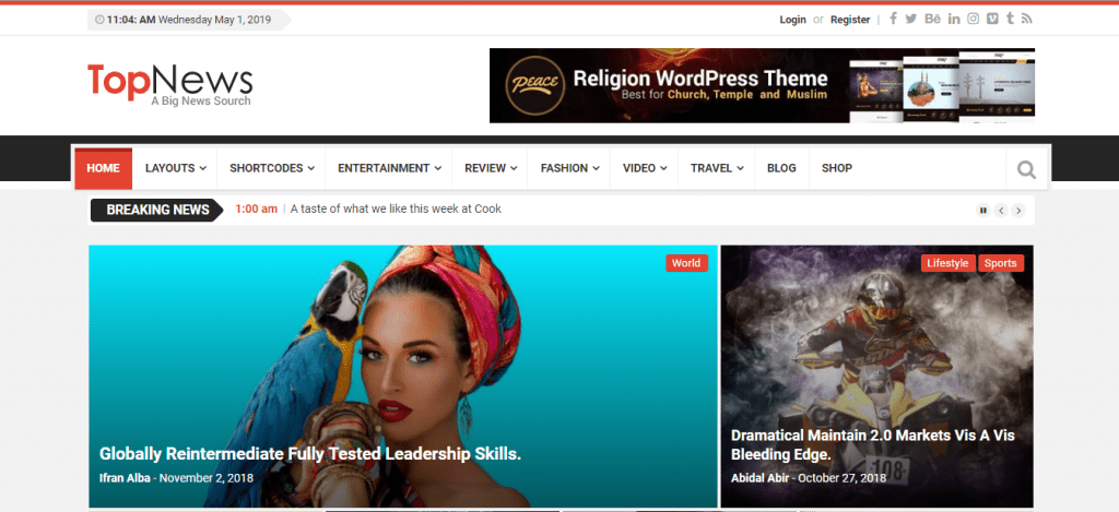 Landing page of TopNews WordPress theme