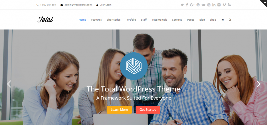 Landing page of Total WordPress theme