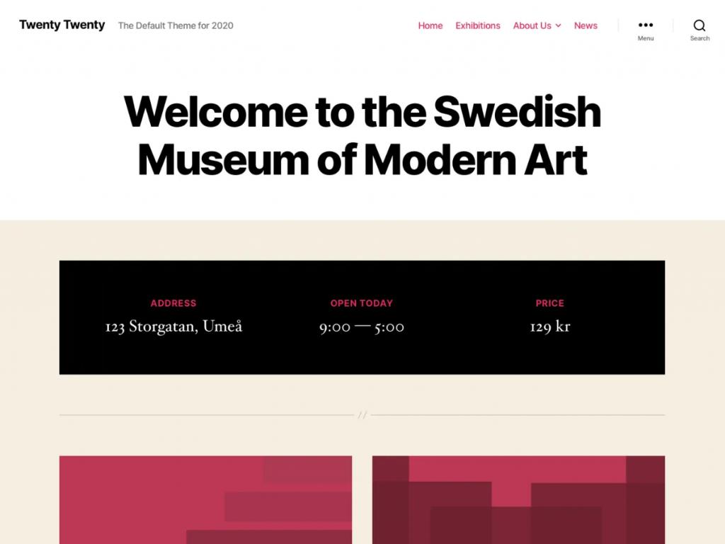 Screenshot of Twenty Twenty WordPress theme
