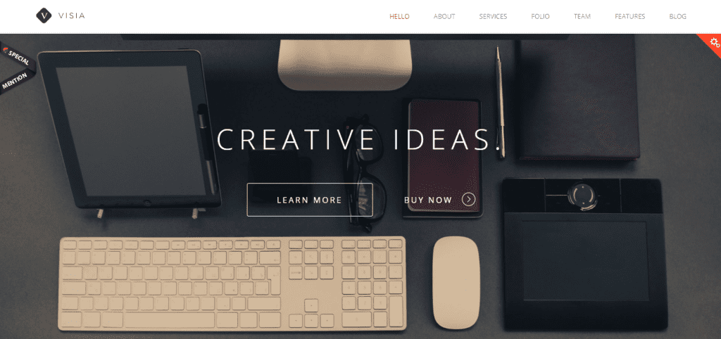 Landing page of Visia WordPress theme