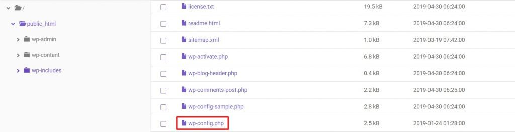 wp-config.php file location