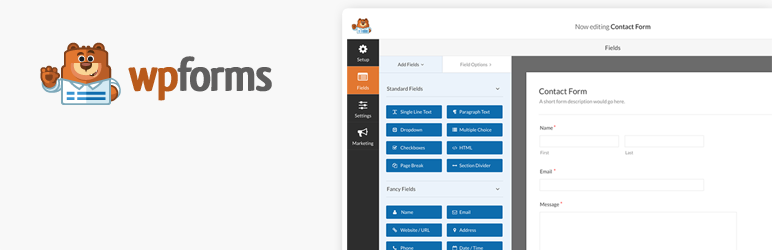 wp forms landing page displaying the contact form interface