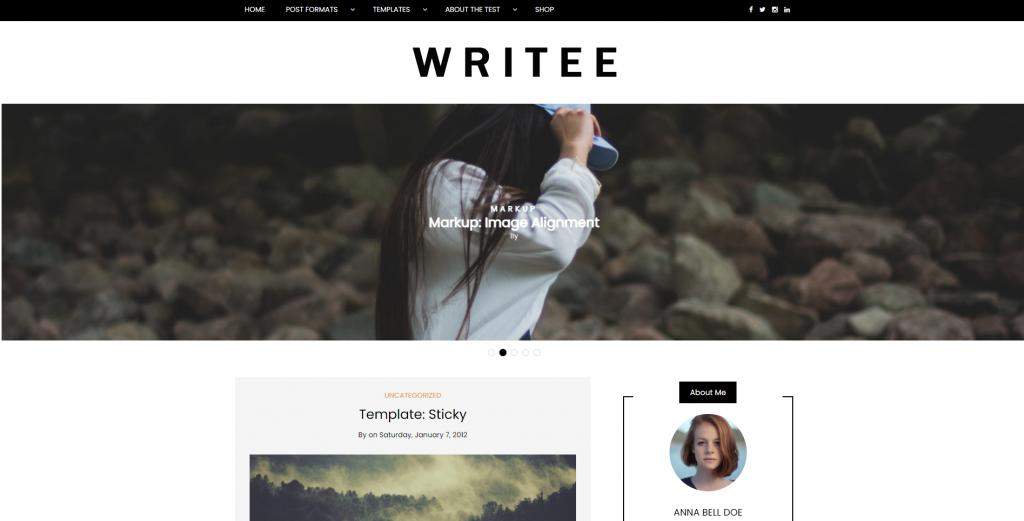Screenshot of Writee WordPress theme