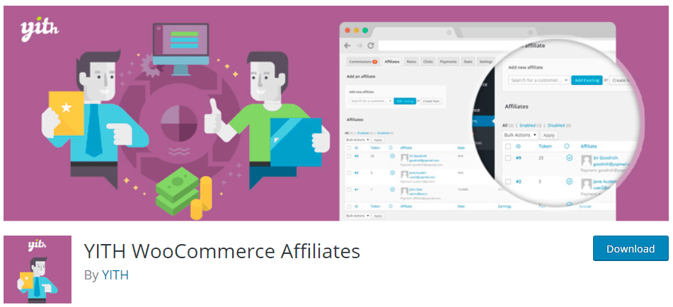 YITH WooCommerce Affiliates webpage
