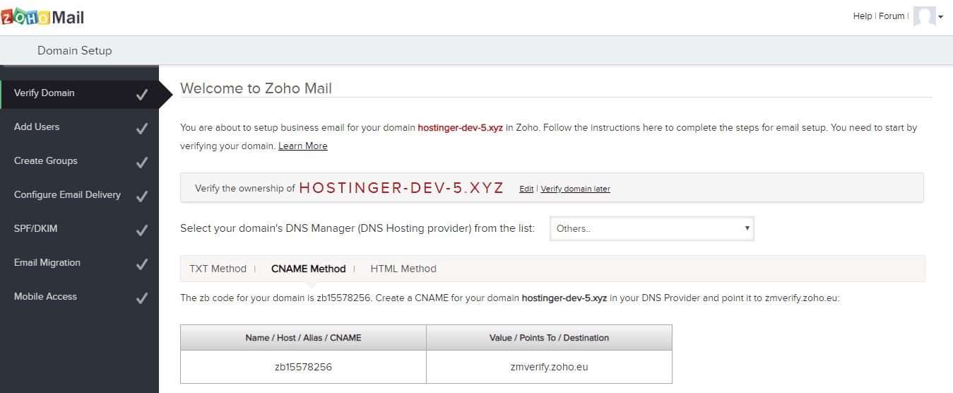 Choosing a DNS Record Method on Zoho
