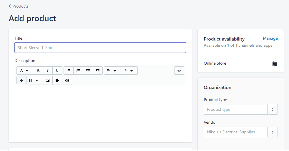 Shopify's Add Product screen
