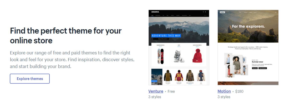 Shopify's theme store
