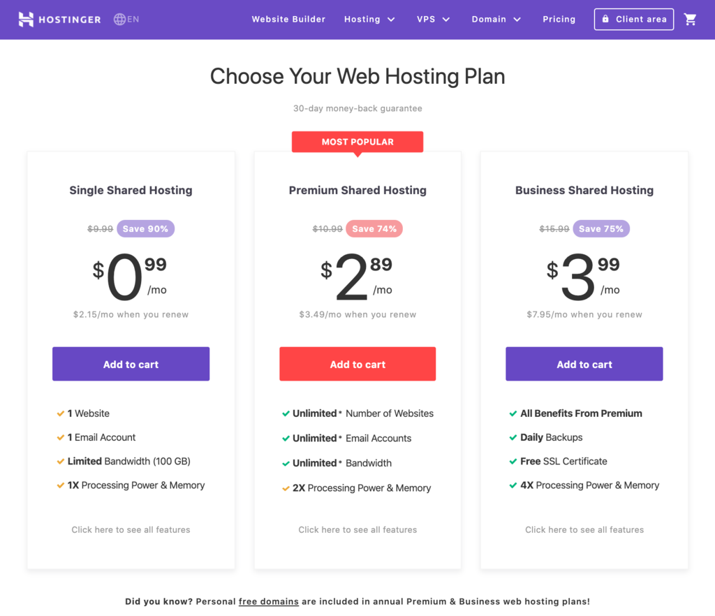 Hostinger's shared hosting pricing page.