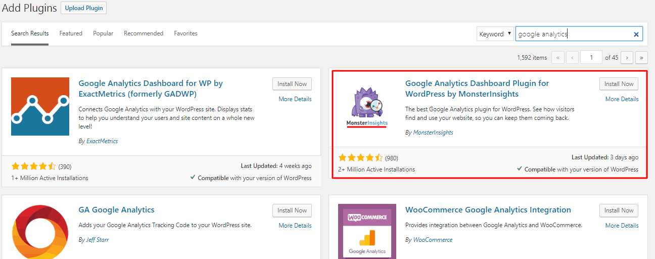Google analytics WordPress plugin by MonsterInsight search result