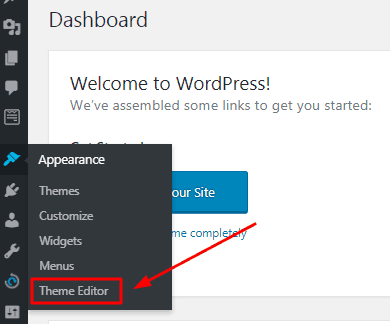 Google analytics WordPress dashboard theme editor button