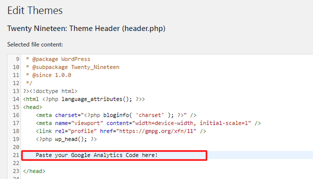 inserting google analytics code into theme editor