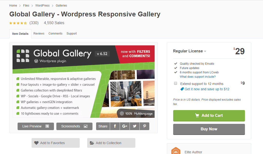 Global Gallery's WordPress plugin directory page