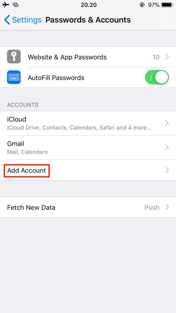 Adding a new email account on iOS