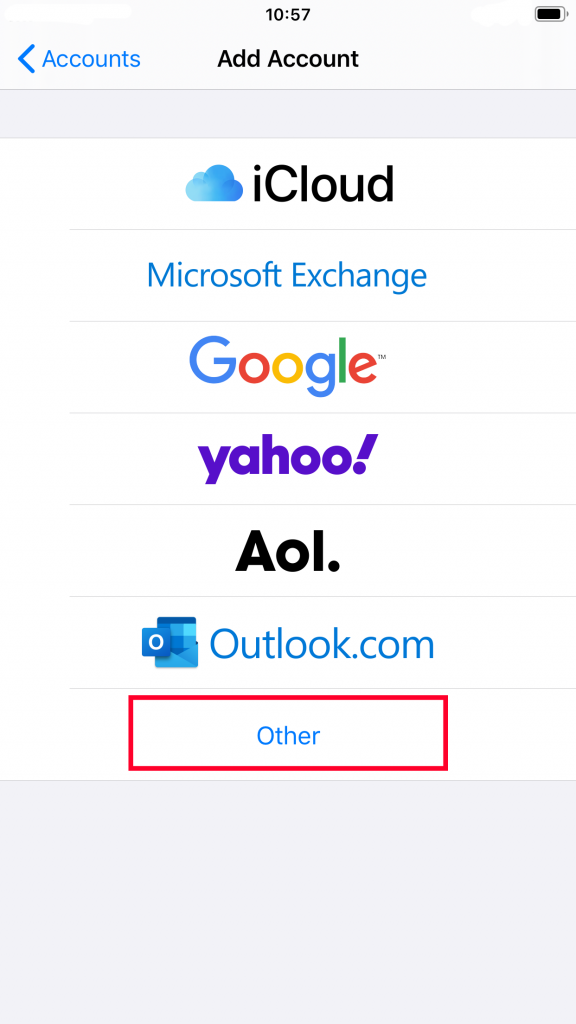 Choosing the Other option to create a custom mail account on iOS