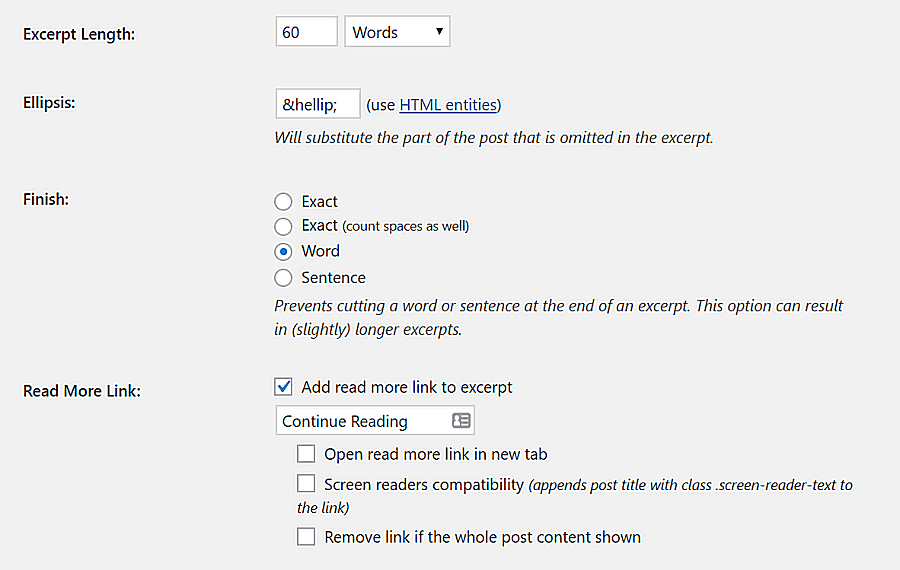 Customizing Advanced Excerpt plugin's settings.