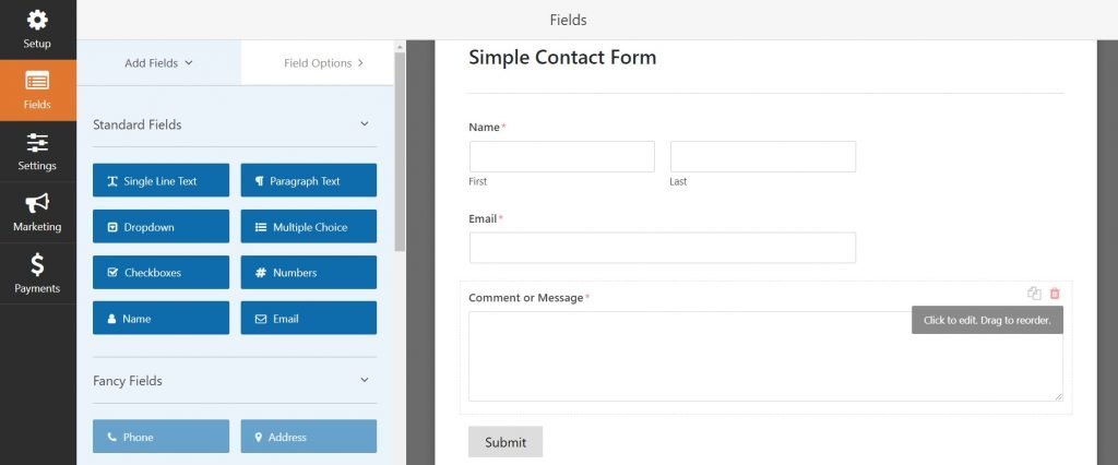 Adding fields on your contact form