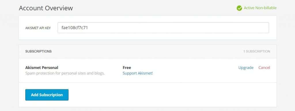 Copy the API key from Akismet Anti-Spam