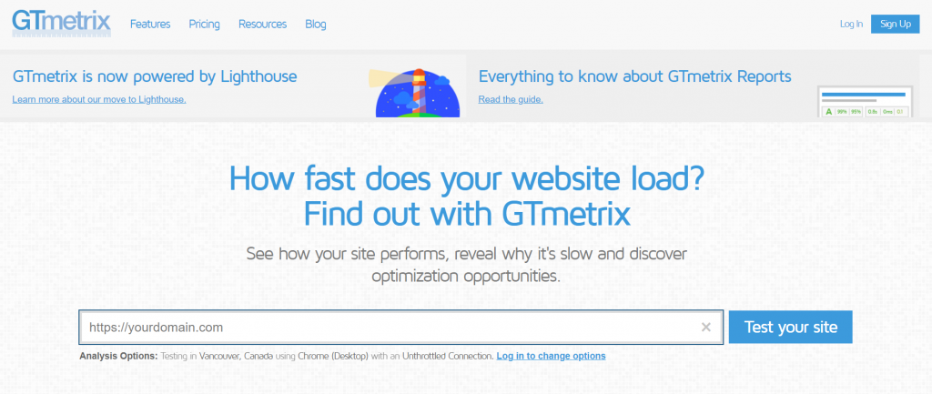 GTmetrix landing page to test how fast your website loads