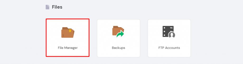 Hostinger's File Manager on hpanel