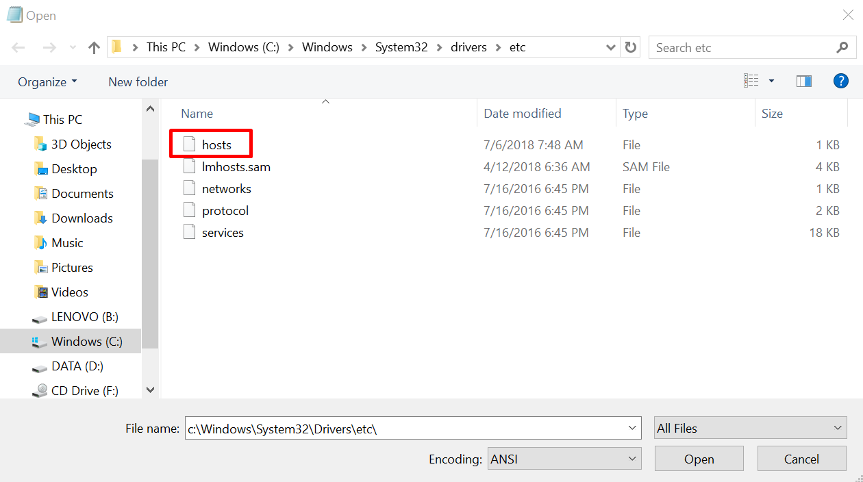 find and open hosts file in Windows' system