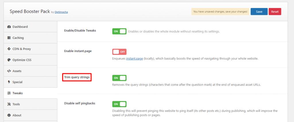Speed Booster plugin's tweaks