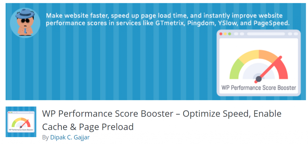 WP Performance Score Booster landing page