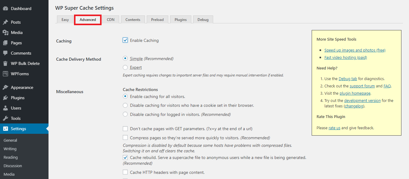Advanced settings tab in WP Super Cache