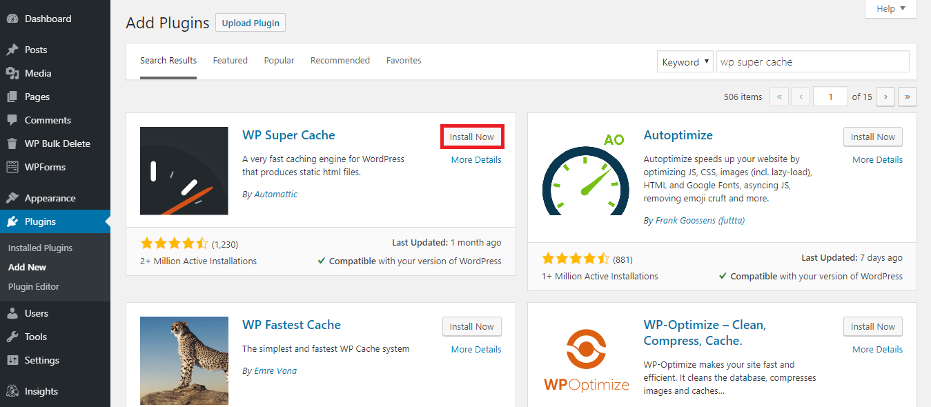 How to install the WP Cache plugin.