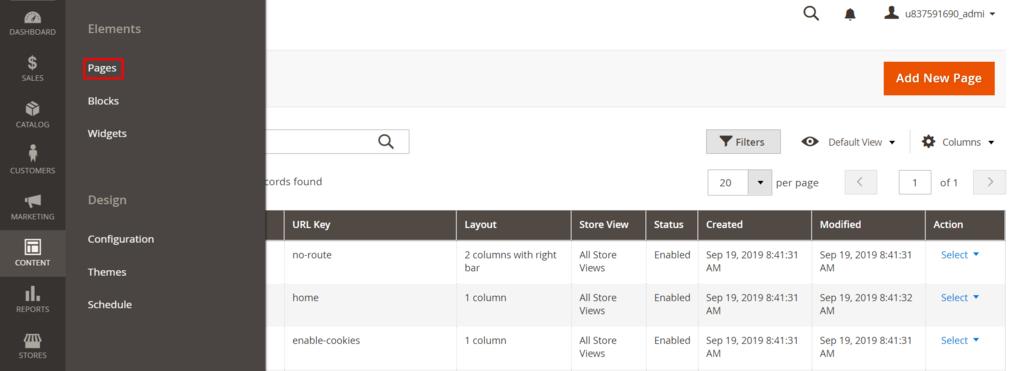 thêm trang mới trong magento admin dashboard