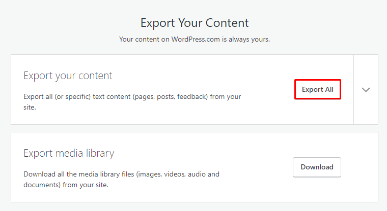 Exporting WordPress.com content