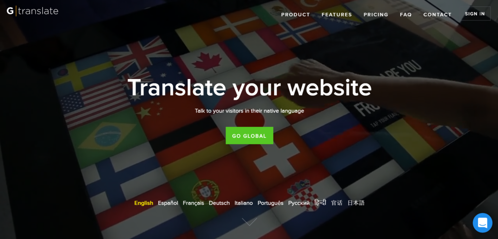 The homepage of GTranslate.