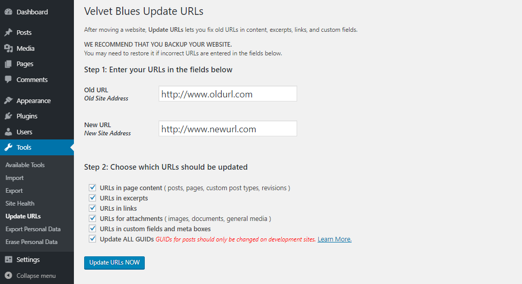 Update WordPress URLs Using the Velvet Blues Update URLs plugin