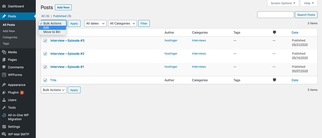Selecting the Edit option from the Bulk Actions drop down menu on WordPress.